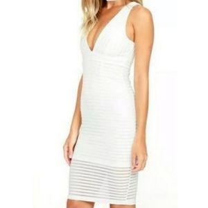 Lulu's White Along the Lines Dress Size Small